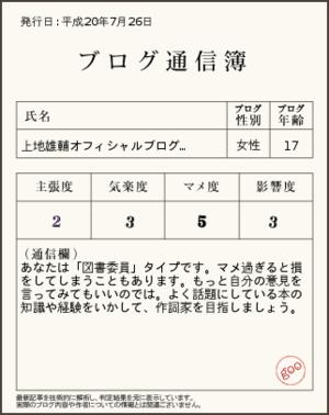 ブログ通信簿(上地雄輔のブログ)