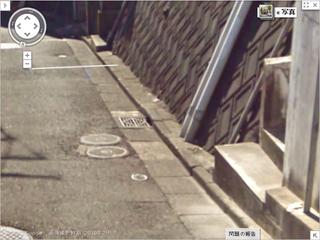 吉田博幸容疑者の自宅前の側溝ブロック(ストリートビュー)