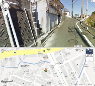 吉田博幸容疑者自宅前の道路(ストリートビュー)
