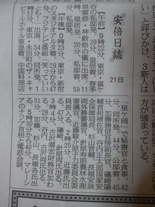 産経新聞の首相動静「安倍日誌」いちご会食は伝えず