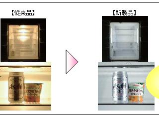 パナソニックの冷蔵庫のフロントワイド照明(ウェブサイトより)
