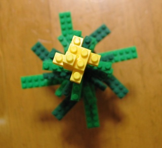 ナノブロックのクリスマスツリーを上から