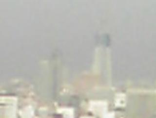 新橋のビルから見た建設中の東京スカイツリー(寄り)