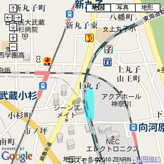 横須賀線武蔵小杉駅のできる場所(Googleマップをキャプチャして使用)