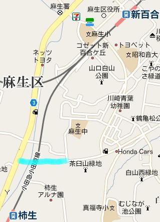 尻手黒川線と世田谷町田線の接続部の地図