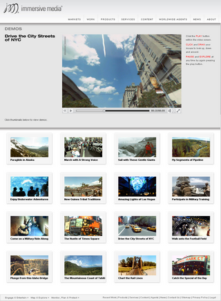 immersive media社のサイトにある360度サンプル動画
