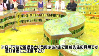 「白ゴマ油で若返るというのはあくまで蓮村先生の見解」というテロップ(人志松本の○○な話)
