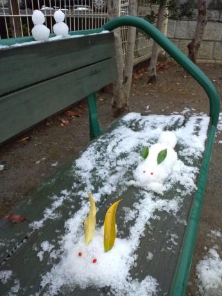 雪ウサギ&ミニ雪だるま