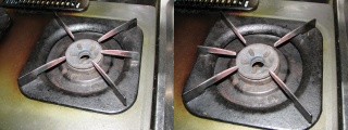 パロマIC-3300BFの五徳の形状(三本脚右、三本脚左)