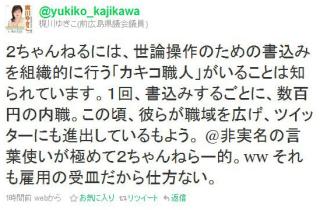 梶川ゆきこ議員のカキコ職人発言