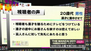 THE MANZAIへ視聴者の苦情