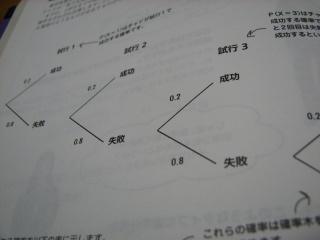 幾何分布の確率木「Head First Statistics 頭とからだで覚える統計の基本」より