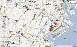 BatchGeoで複数住所を地図上にマッピングしたところ
