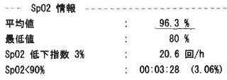 酸素飽和度SpO2情報(スマートウォッチPMP-300)
