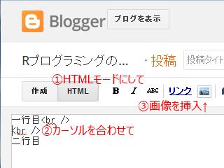 Blogger HTMLモードで画像を挿入