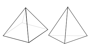 三角錐と四角錐(正四面体)