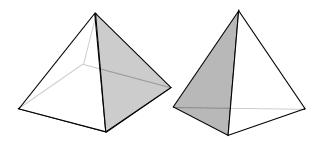 三角錐と四角錐(正四面体) グレーの箇所を貼り合わせる