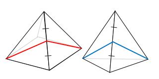 三角錐と四角錐(正四面体) 隣り合う面のなす角度を調べる